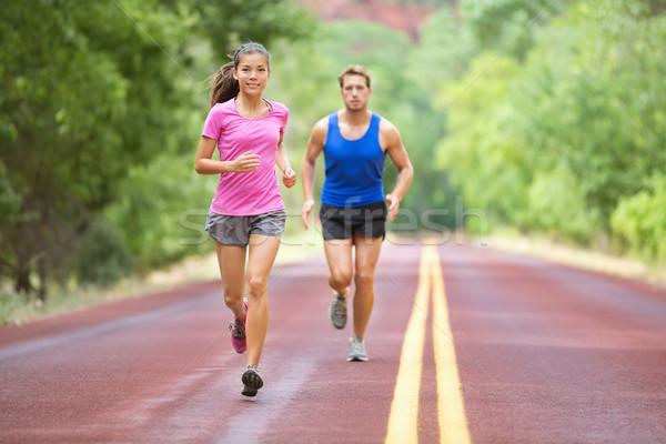 スポーツ カップル を実行して 道路 訓練 マラソン ストックフォト © Maridav