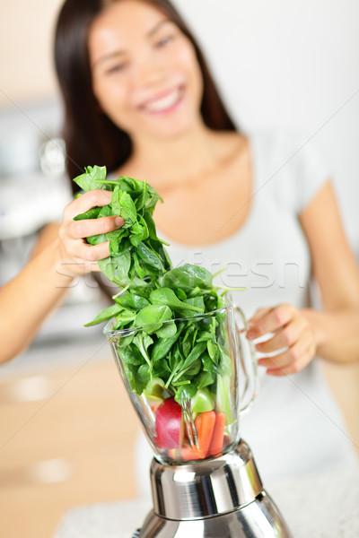 Zöld smoothie nő készít zöldség robotgép egészséges étkezés Stock fotó © Maridav