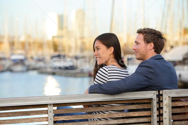 Romantic couple on bench Port Vell, Barcelona Stock photo © Maridav