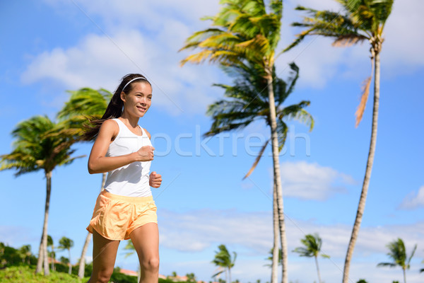 Asian runner ragazza jogging natura estate Foto d'archivio © Maridav