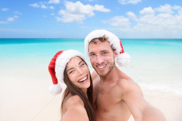 Karácsony pár kép tengerpart vakáció boldog Stock fotó © Maridav