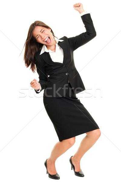 Vieren dansen gelukkig zakenvrouw blijde Stockfoto © Maridav