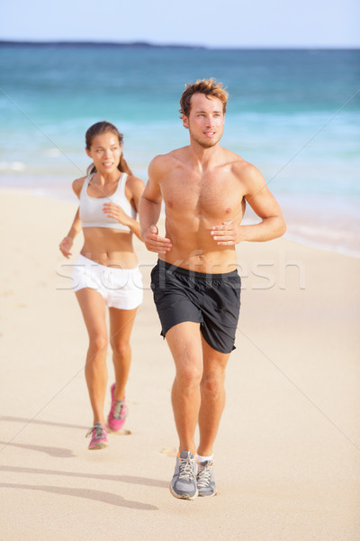 Couple running - man fitness runner first Stock photo © Maridav