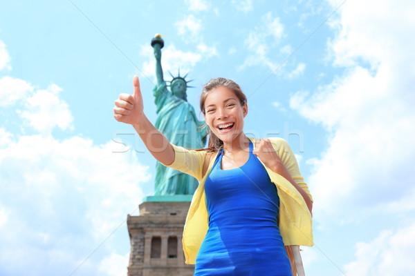 Нью-Йорк статуя свободы туристических женщину Сток-фото © Maridav