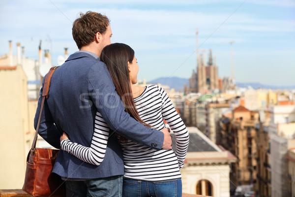 Romantik çift bakıyor görmek Barcelona mutlu Stok fotoğraf © Maridav
