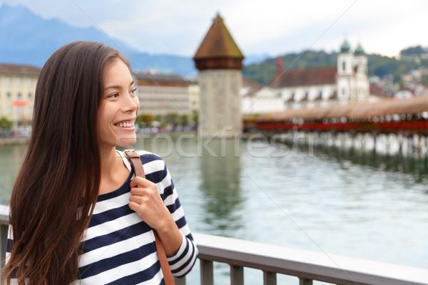 Nő sétál város Svájc lezser lány Stock fotó © Maridav