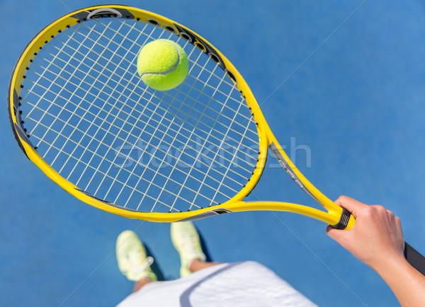 Teniszező tart labda ütő bíróság citromsárga Stock fotó © Maridav