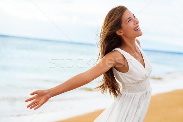 Stock fotó: Szabad · boldog · nő · nyitva · karok · szabadság