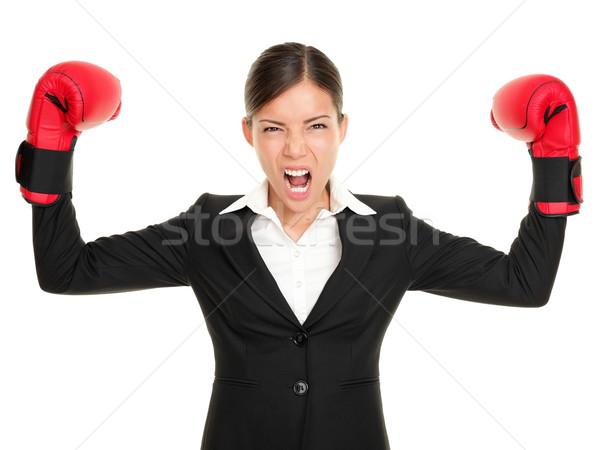 Boxing gloves business woman angry Stock photo © Maridav