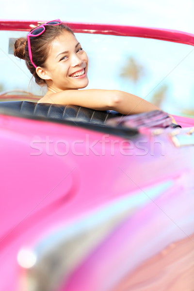 Retro woman happy in old vintage car Stock photo © Maridav