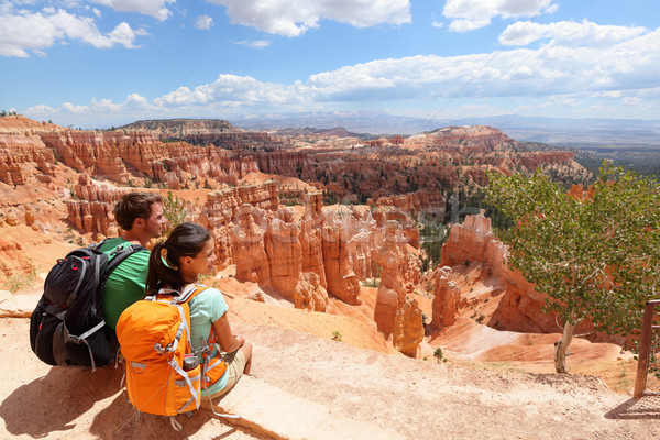 Hikers in Bryce Canyon resting enjoying view Stock photo © Maridav