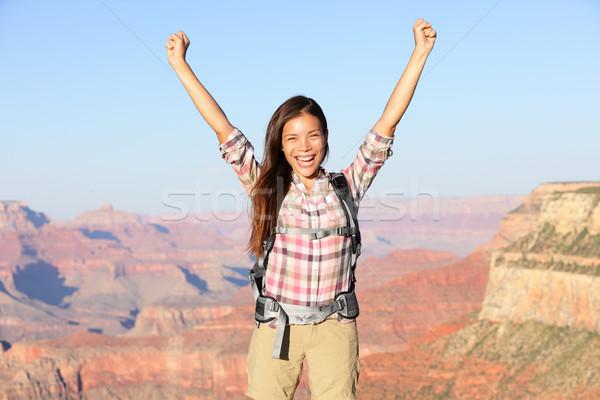 Feliz vencedor andarilho mulher Grand Canyon Foto stock © Maridav