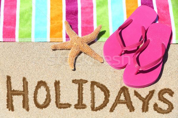 Foto stock: Vacaciones · playa · viaje · texto · escrito · arena