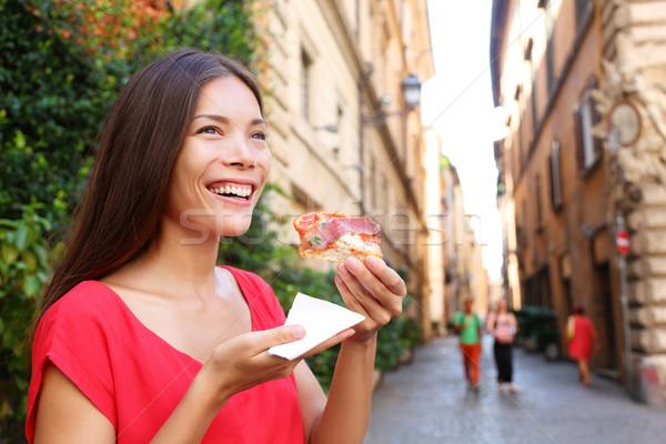 Pizza vrouw eten pizza slice Rome Italië Stockfoto © Maridav