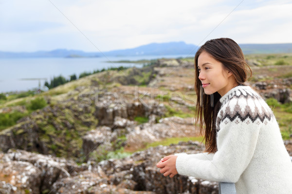 Iceland - woman looking at Thingvellir Althing Stock photo © Maridav