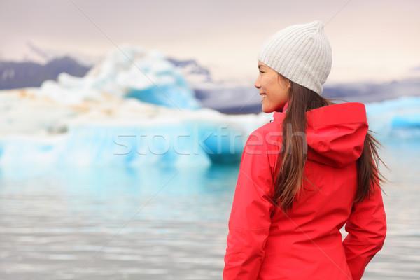 Woman at glacier lagoon on Iceland Stock photo © Maridav