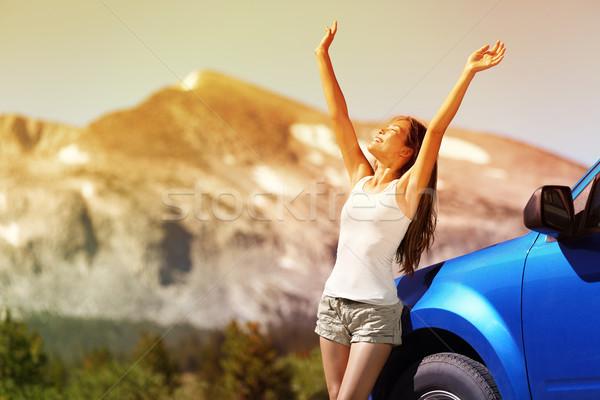 ストックフォト: 幸せ · 自由 · 車 · 女性 · 夏 · 道路