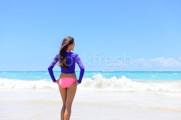 Plaj kadın yaşayan aktif yaşam tarzı sağlıklı Stok fotoğraf © Maridav