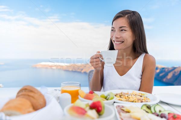 Stok fotoğraf: Kadın · içme · sabah · kahve · kahvaltı · Asya