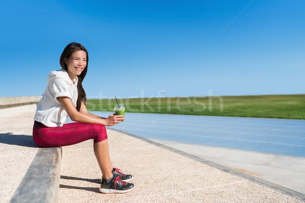 Egészséges élet zöld smoothie fitnessz futó nő atléta Stock fotó © Maridav
