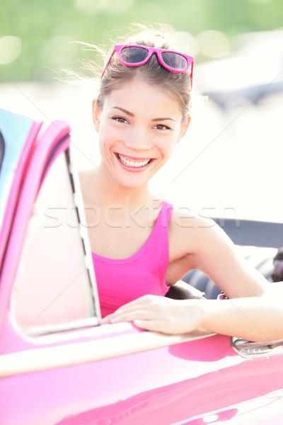 Vrouw oldtimer gelukkig glimlachend retro roze Stockfoto © Maridav