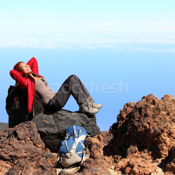 Resting relaxing hiker Stock photo © Maridav