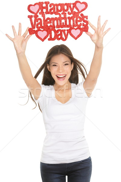 Woman showing Valentines day sign Stock photo © Maridav