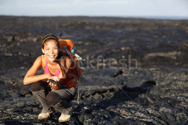Hiker showing lava on Big Island, Hawaii Stock photo © Maridav