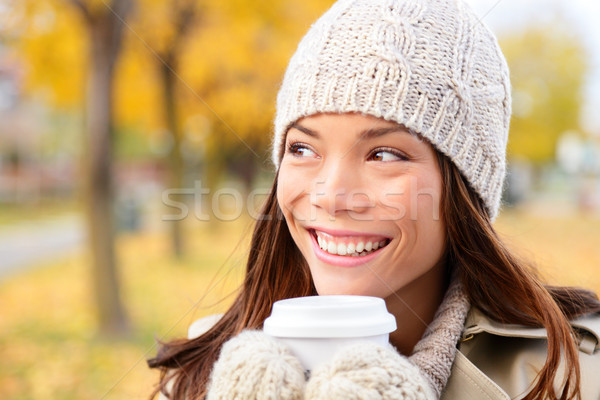 Autumn / fall woman drinking coffee looking Stock photo © Maridav