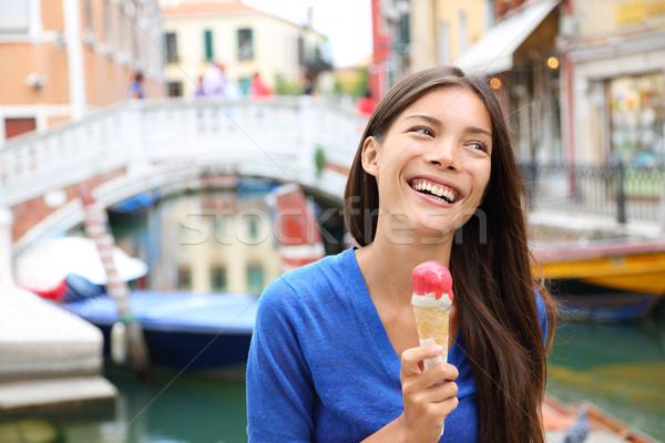 Woman in Venice, Italy eating Ice cream Stock photo © Maridav