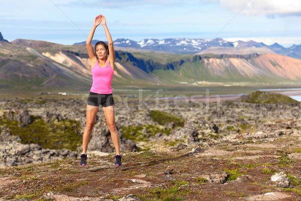 Stockfoto: Fitness · vrouw · springen · buitenshuis · springen · verbazingwekkend