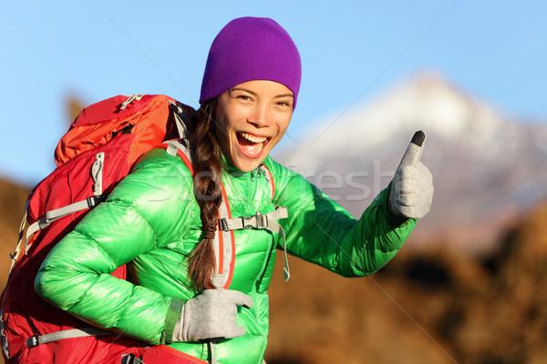 Stock fotó: Kirándulás · nő · tél · kabát · remek · mosolyog