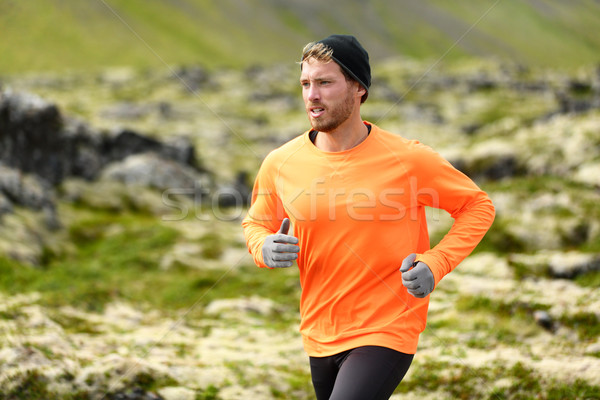 Runner - sport running man in trail run Stock photo © Maridav