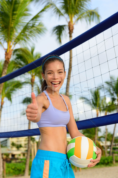 Happy beach volleyball woman player thumbs up Stock photo © Maridav