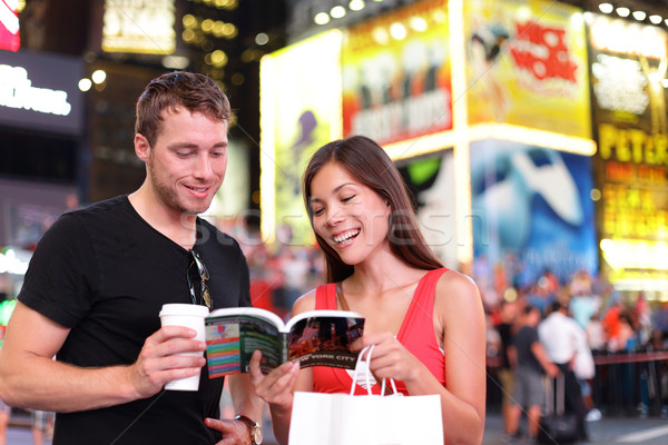 People in New York - happy couple on Times Square Stock photo © Maridav