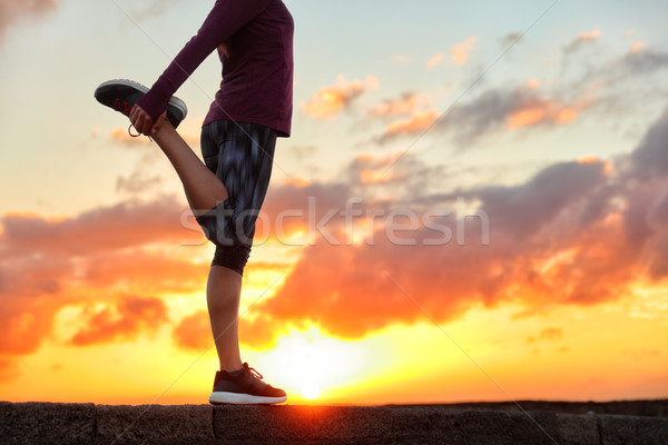 Running runner stretching leg preparing for run Stock photo © Maridav