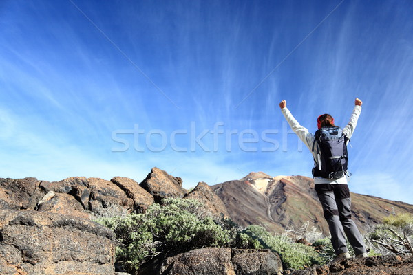 Stock photo: Hiker cheering