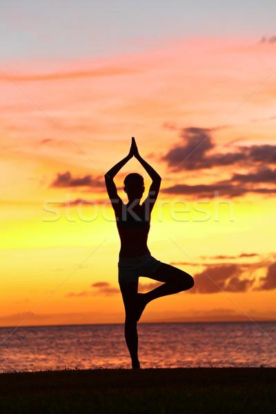 Yoga woman training in sunset in tree pose Stock photo © Maridav