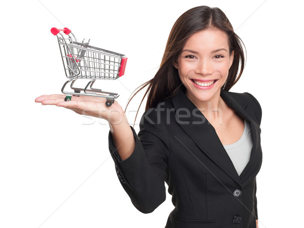 Shopping cart - business woman shopper Stock photo © Maridav