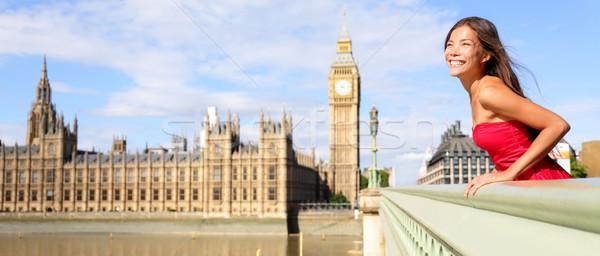 Londyn Anglii podróży banner kobieta Big Ben Zdjęcia stock © Maridav