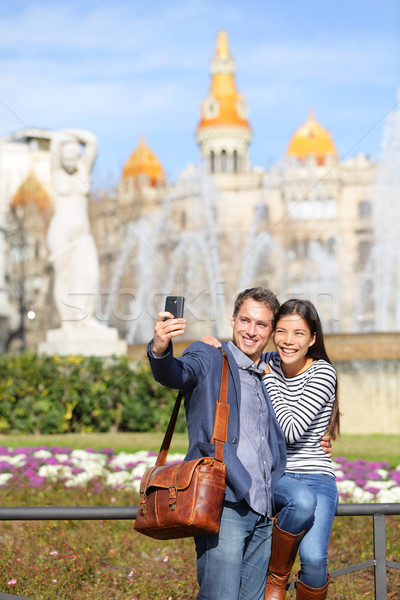Tourist travel couple taking selfie in Barcelona Stock photo © Maridav