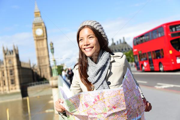 Сток-фото: путешествия · Лондон · туристических · женщину · карта