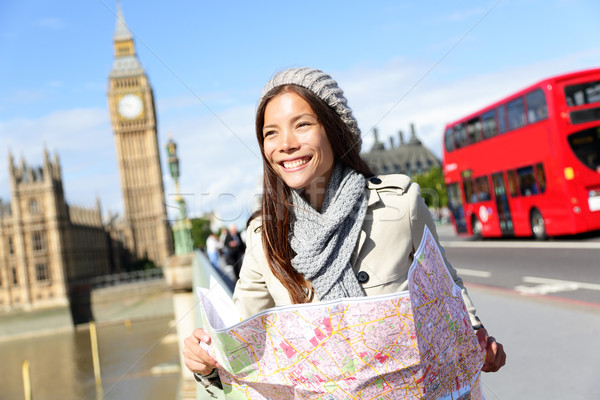 Travel London tourist woman holding map Stock photo © Maridav