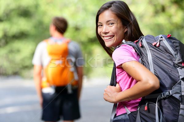 Turystyka ludzi młodych turysta dziewczyna szczęśliwy Zdjęcia stock © Maridav