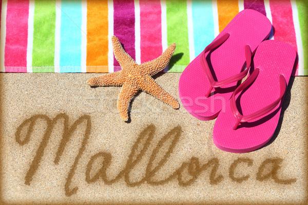Mallorca beach vacation writing on sand Stock photo © Maridav