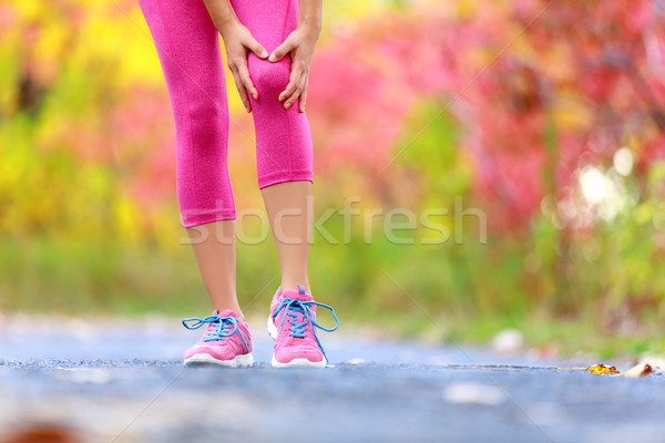 Knee Injury - running sport knee injuries on woman Stock photo © Maridav