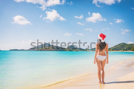 Stock photo: Woman in Santa hat on beach travel vacation