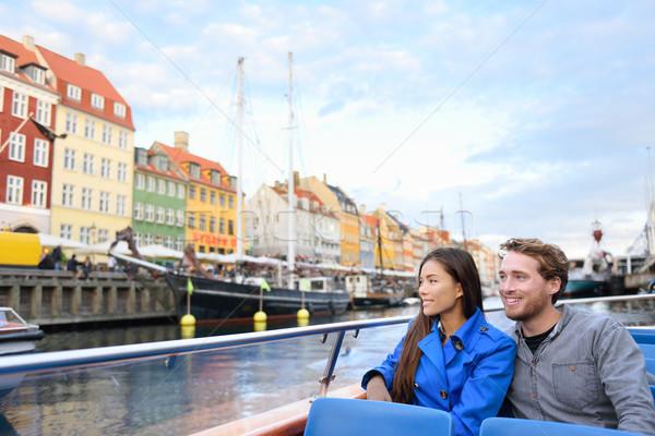 Koppenhága turisták emberek csónak turné hajóút Stock fotó © Maridav