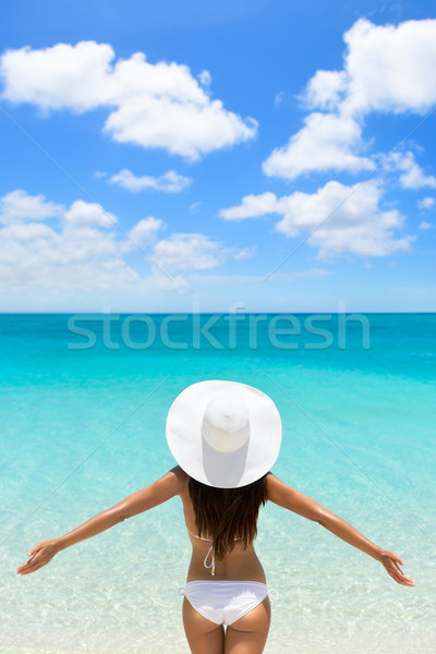 Vacation freedom woman on luxury tropical getaway Stock photo © Maridav