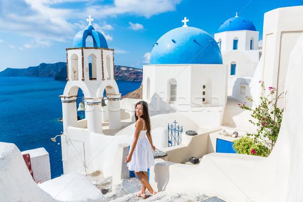Stock fotó: Európai · nyári · vakáció · lány · sétál · Santorini · utazás